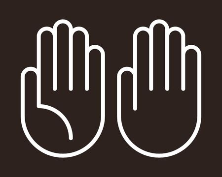 Hand icon set on dark background