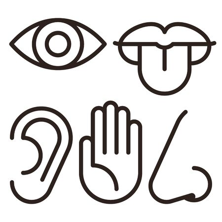 Eye, ear, lips, nose and hand - five senses of human nervous system. Sensory organs icon set isolated on white background