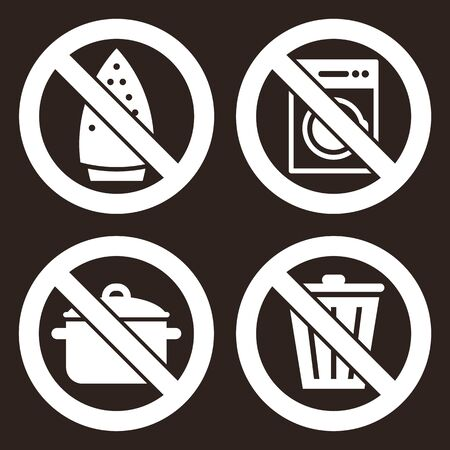 Ironing is not allowed, no washing machine, no cooking and don`t throw trash sign on dark