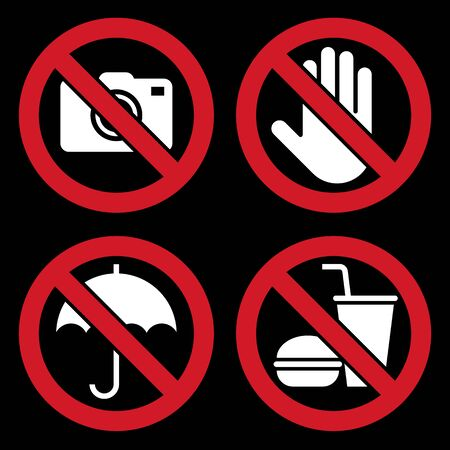 No camera, Do not touch, Umbrella not allowed, No food and drink sign.