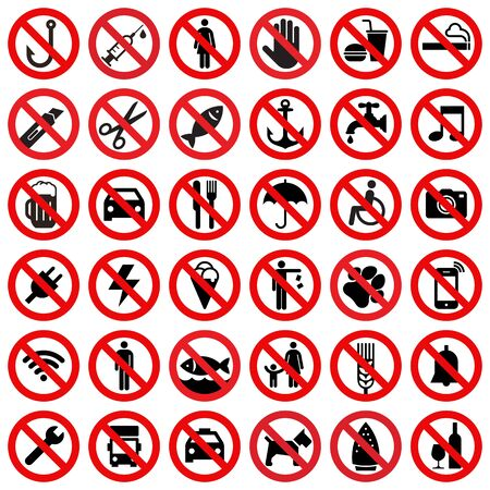 Set of prohibited sign isolated on white background Ilustración de vector