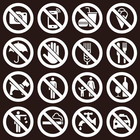 Prohibition signs on dark background