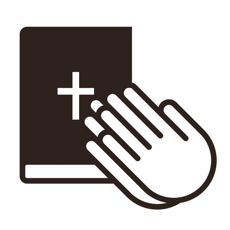 Praying hands and bible. Prayer icon isolated on white background