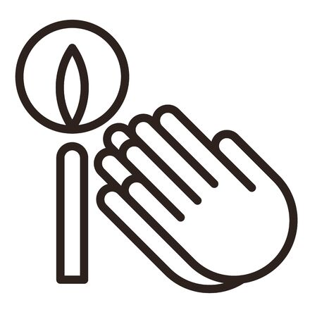 Praying hands and candle icon. Prayer icon isolated on white background Illustration