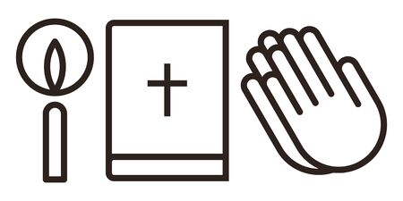 Candle, bible and praying hands icon set. Prayer icon isolated on white background