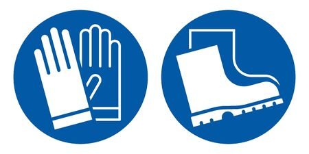 Wear safety gloves and footwear sign. Protective safety boots and gloves must be worn Ilustración de vector