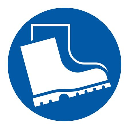Wear safety footwear sign. Protective safety boots must be worn