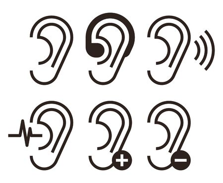 Ear icons. Hearing problem icons set isolated on white backgroundd Ilustração
