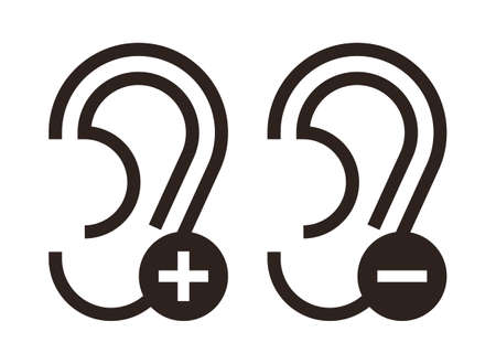 Ear icons. Hearing icons set isolated on white background  イラスト・ベクター素材