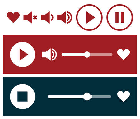 Radio player interface and player icon set isolated on white background 矢量图像