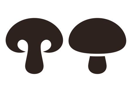 Mushroom icon. Champignon simple silhouette isolated on white background 矢量图像