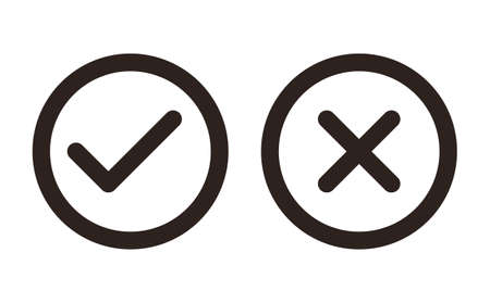 Check and Cancel button. Yes and No symbol. Accepted and Rejected, Approved and Disapproved Web Button isolated on white background