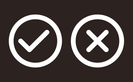 Check and Cancel button. Yes and No symbol. Accepted and Rejected, Approved and Disapproved Web Button on dark background 矢量图像