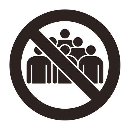 No group sign. Coronavirus prevention 矢量图像