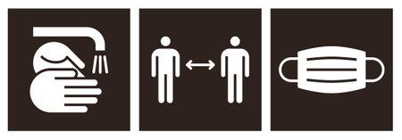 Corona virus COVID-19 safety measures. Warning sign set. Wash hands, social distance and protective mask sign 矢量图像