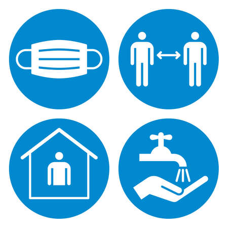 safety measures. Protective mask, social distance, stay home and wash hands sign set 矢量图像