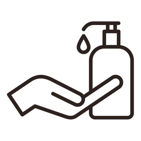 Disinfect and sanitize your hands. Liquid soap icon