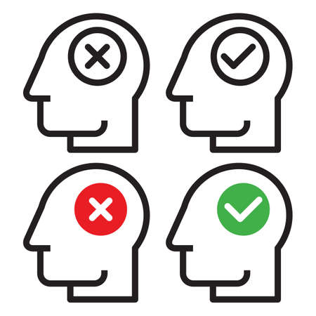 Human head with check and cancel button. yes and no symbol. Concept of accepted and rejected, approved and disapproved people