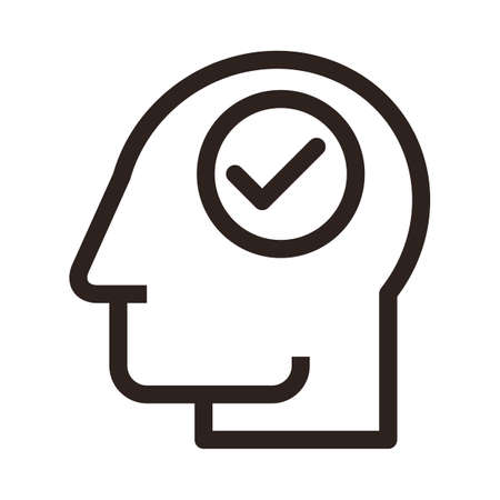 Head with check mark. Concept of thinking man isolated on white background