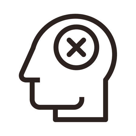 Head with cancel sign. Concept of stress and depression isolated on white background