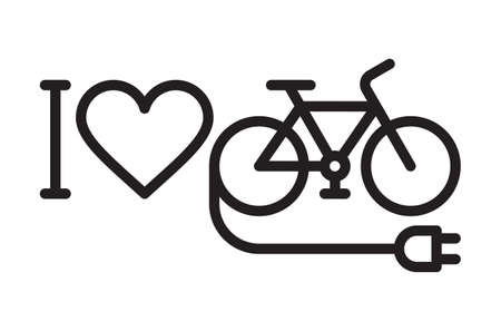 I love my e-bike icon isolated on white background