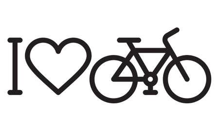 I love my bike icon isolated on white background