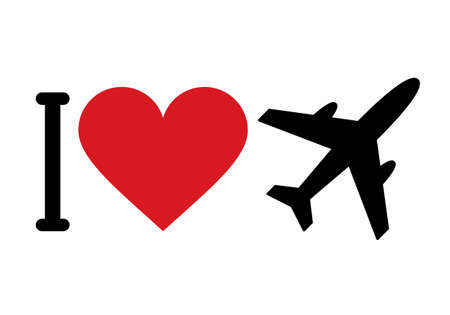 I love planes isolated on white background 矢量图像