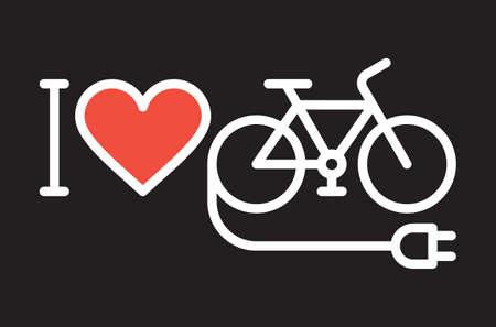 I love my e-bike icon on dark background Illusztráció