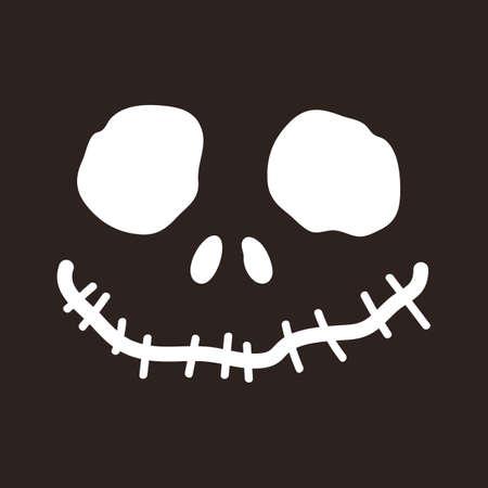 Halloween skull isolated on dark background Illusztráció