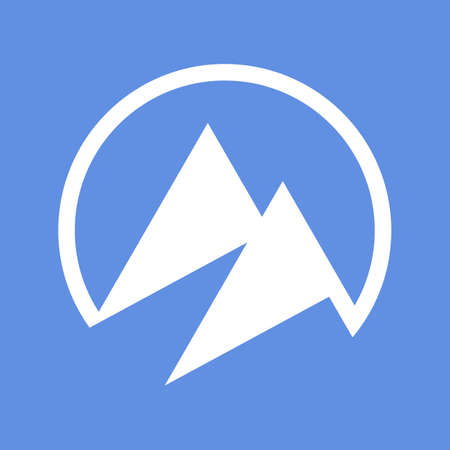 Mountain icon isolated on blue background