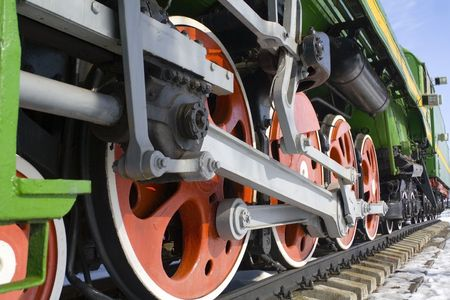 depart: The old locomotive wheels Stock Photo