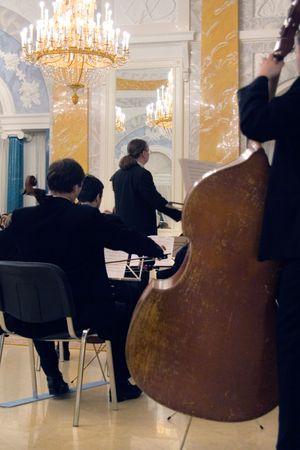 the orchestra concert of the classical music in the palace