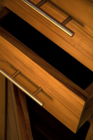 Detail of wooden furniture with drawers