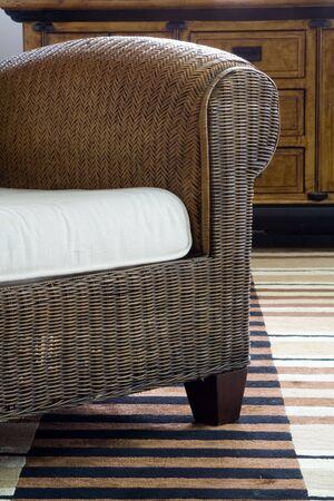 Detail of stylish rattan armchair Stock Photo