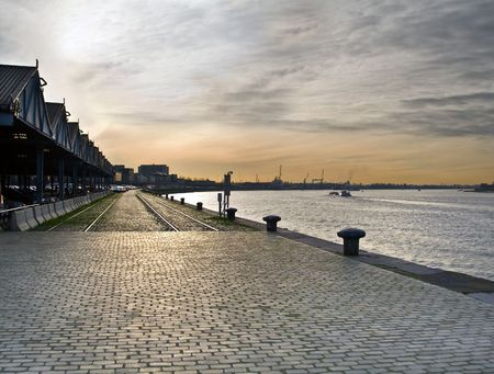 View of Antwerp sea port, evening