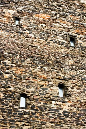 loopholes: Medieval wall of Town Hall in Aachen Stock Photo