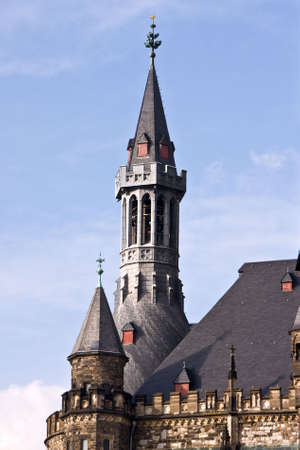 loopholes: View of tower of Town Hall in Aachen