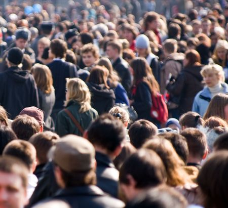 Crowd of people at the street Standard-Bild