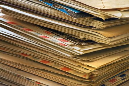 envelops: A bulk of old  letters and junk mail