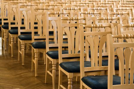lecture theatre: Wooden chairs in conference hall