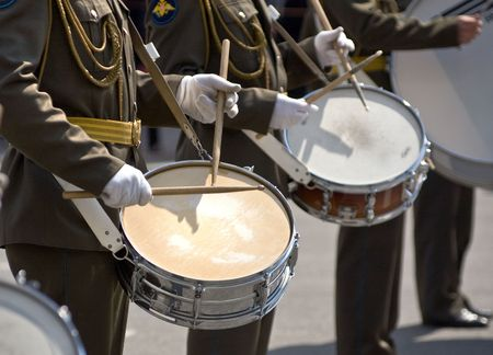 Musicians at the Festival of Military Bands, St.Petersburg, Russia, 12.06.2008 Standard-Bild