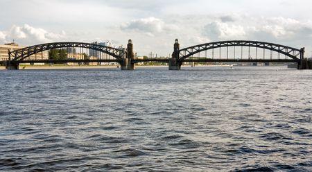 neva: Bolsheokhtinsly bridge across Neva river, St.Petersburg, Russia