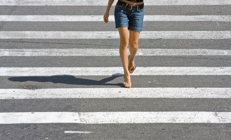 foots: Crossing the street Stock Photo