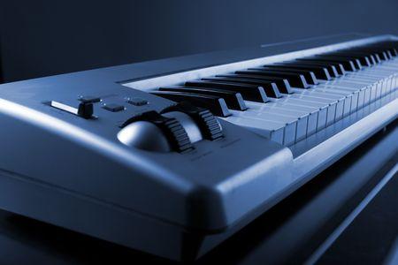 midi: Piano MIDI interface keyboard - colorized, closeup view