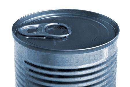 Aluminium tin can isolated on white background photo