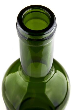 Closeup of green bottle isolated on white background photo