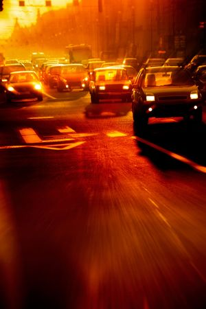 Street traffic in the morning - motion blur image Stock Photo