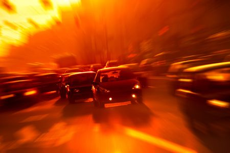 Street traffic in the morning - motion blur image photo