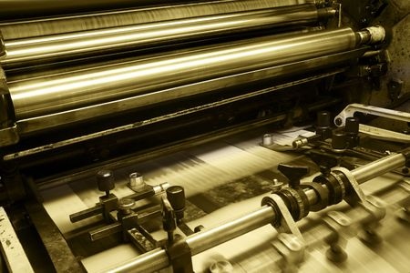 Offset press machine in printing house Stock Photo