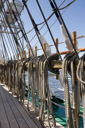 Detail of rigging of old sail ship photo
